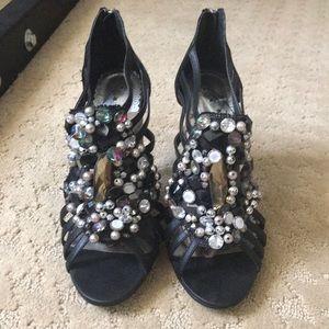 Naughty monkey black multicolor high heels 8.5 new